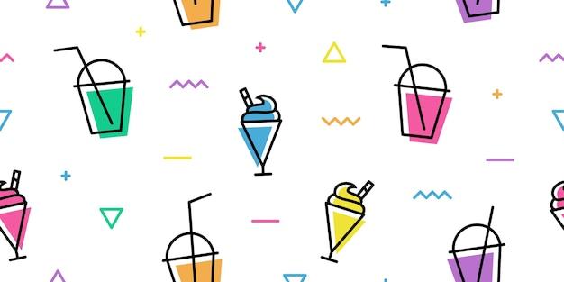 Milkshake cup memphis colorful outline line art seamless pattern