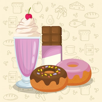 Milkshake and donuts with chocolate bar
