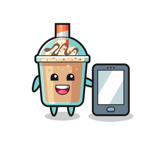 スマートフォンを保持しているミルクセーキイラスト漫画、tシャツ、ステッカー、ロゴ要素のかわいいスタイルのデザイン