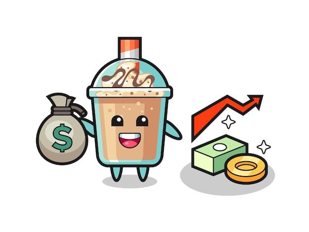 お金の袋、tシャツ、ステッカー、ロゴ要素のかわいいスタイルのデザインを保持しているミルクセーキイラスト漫画