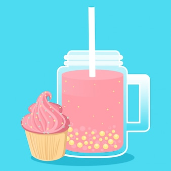 Milkshake in jars with cupcake on blue.