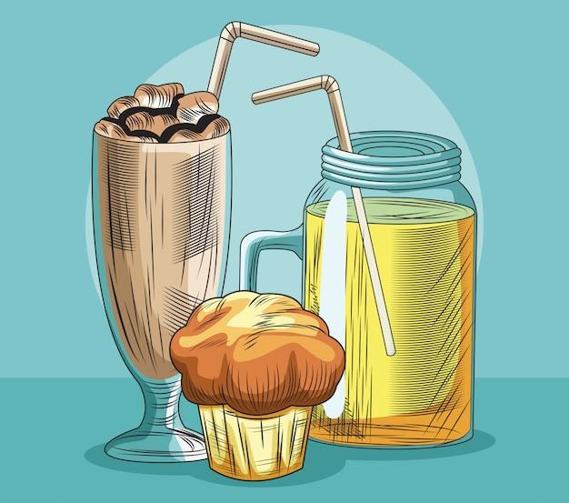 ミルクセーキジュースマフィンフレッシュフルーツ