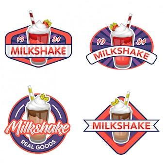 Набор векторного логотипа молочный коктейль