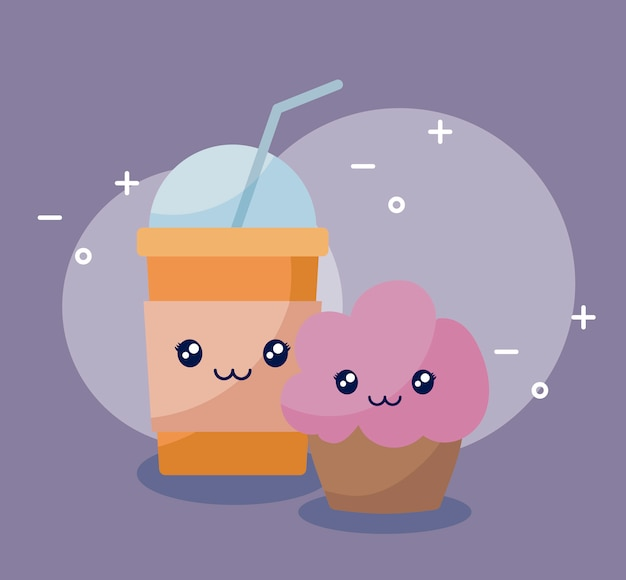 Milkshake with cupcake kawaii character