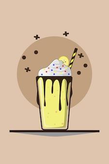 Milkshake with whip cream and banana