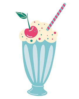 Milkshake with whipped cream and cherry. smoothie, cocktail. vector illustration of old fashioned milkshake cocktail with whipped cream and cherry on top. summer drinks. cartoon vector illustration