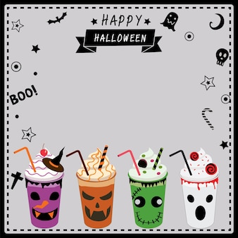 Milkshakes decorated for halloween party.