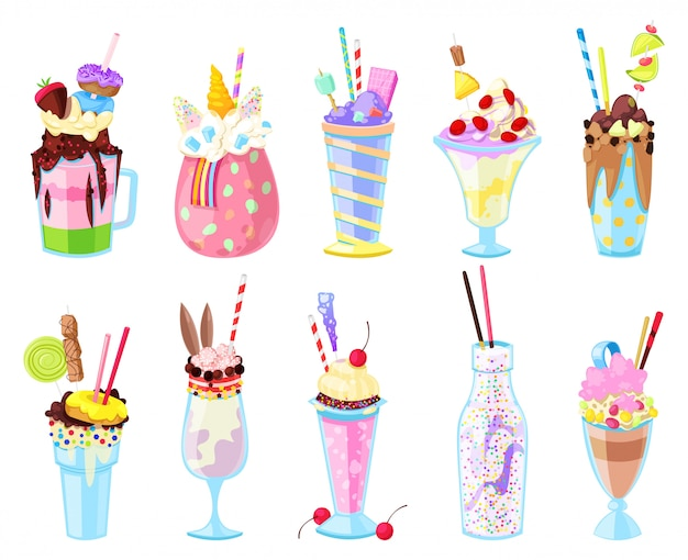 Milkshakes vector healthy ice-cream drink in glass or fresh milk beverage mix in bottle illustration set of icecream juice in glassful or jar isolated on white background