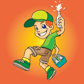 Milky boy cartoon in green uniform