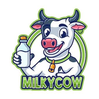 乳白色の牛の漫画のマスコットのロゴ