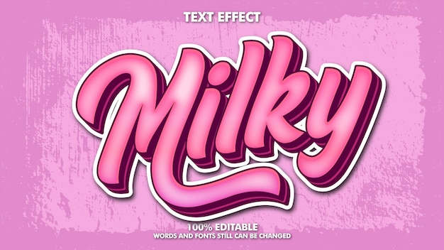 Effetto testo adesivo latteo effetto testo retrò rosa modificabile per il marchio