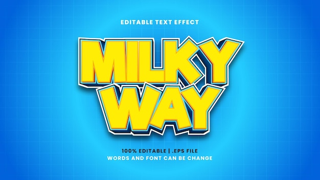 Milky way editable text effect in modern 3d style