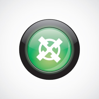 Mill glass sign icon green shiny button. ui website button