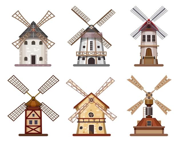 製粉所または風車の木造小麦および小麦粉の建物。