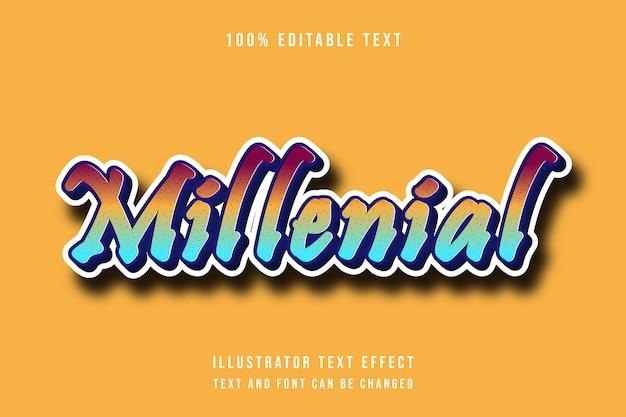 Millenial, 3d редактируемый текстовый эффект красный желтый синий современный стиль тени
