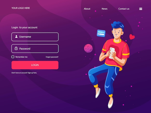 Millenial landing page, with future purple background.