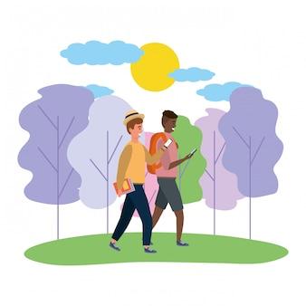 Millennial couple date nature illustration