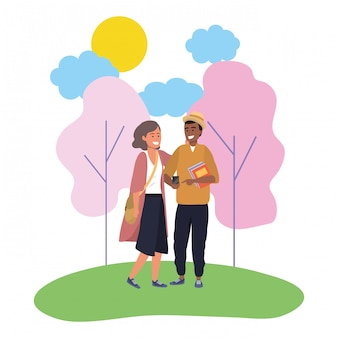 Millennial couple date nature illustration