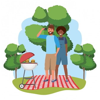 Millennial couple date picnic frame
