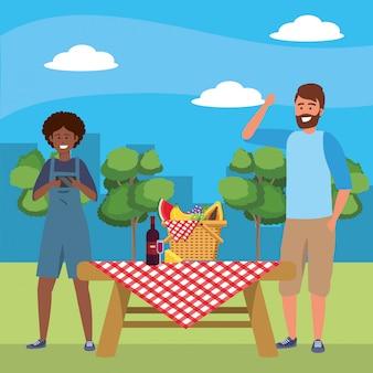 Millennial couple date picnic