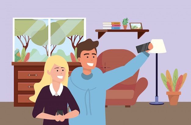 Millennial couple date selfie