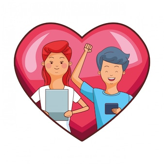 Millennial couple in heart frame cartoon