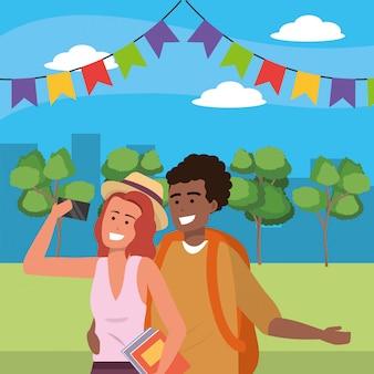 Millennial couple outdoors park illustration