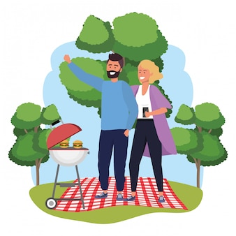 Millennial couple smartphone taking selfie frame picnic