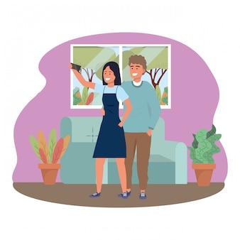 Millennial couple smartphone taking selfie indoors