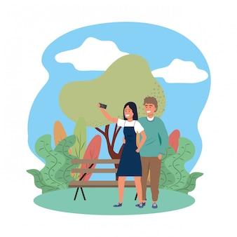 Millennial couple smiling selfie park bench nature splarsh frame