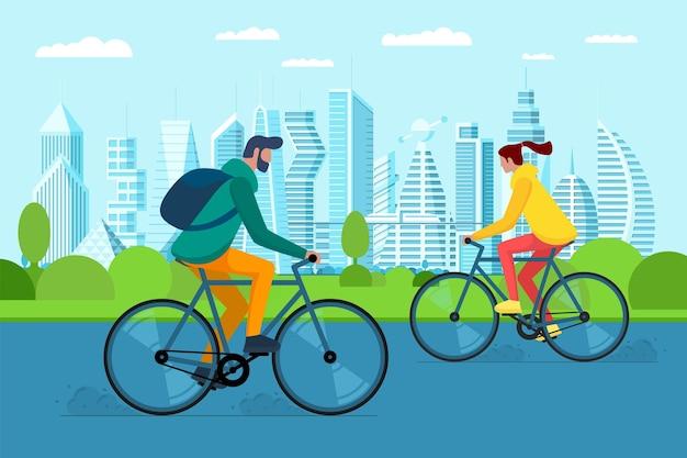 도시 공원에서 자전거를 탄 천년 소녀와 소년. 도시 야외 친환경 교통. 차량을 공유하는 젊은이들. 거리에서 활동적인 주말 생활 레크리에이션. 자전거 타기 벡터 일러스트 레이 션