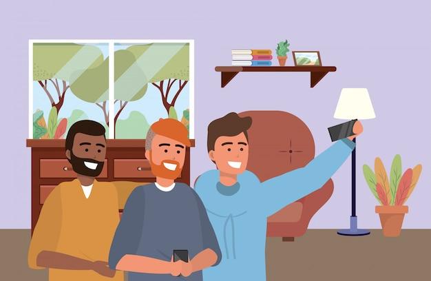 Millennial group smartphone taking selfie indoors