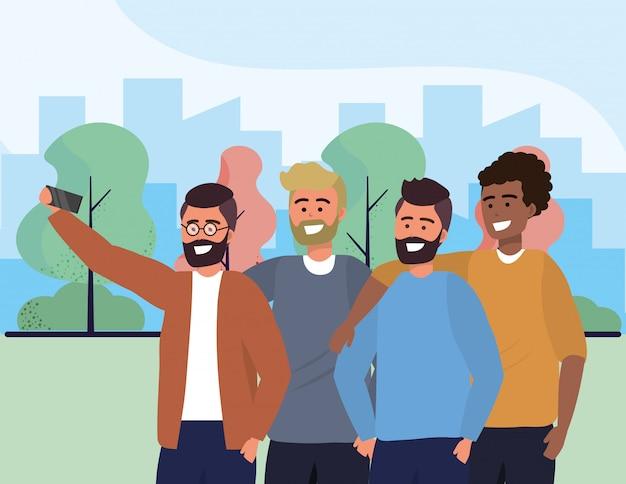 Millennial group smartphone taking selfie outdoors