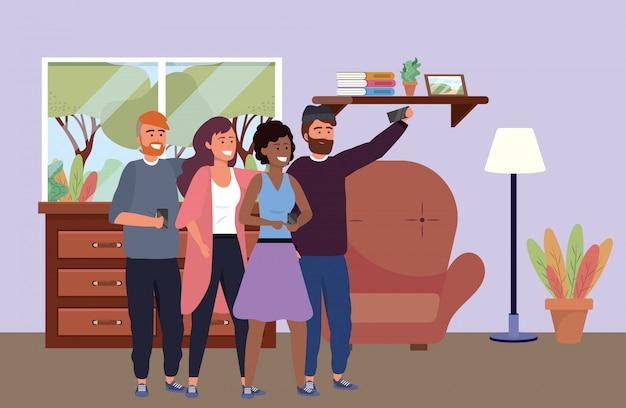 Millennial group taking selfie indoors