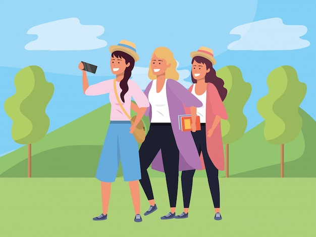Millennial group taking selfie nature illustration