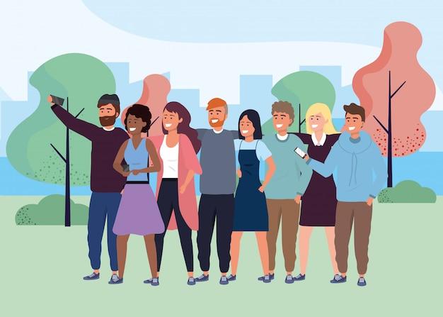 Millennial group taking selfie park