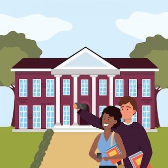 Millennial student couple on campus illustration
