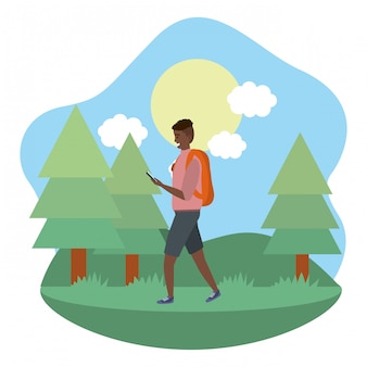 Millennial student outdoors using smartphone illustration