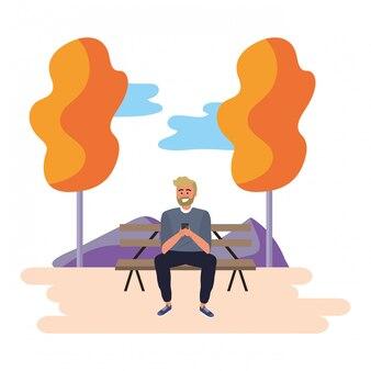 Millennial student park bench illustration