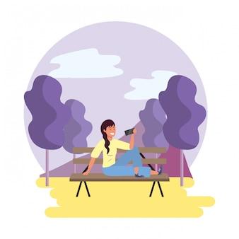 Тысячелетний студент скамейке в парке иллюстрации