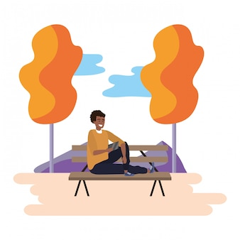 Millennial student park bench illustration