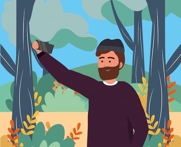 Millennial young person smartphone selfie portrait