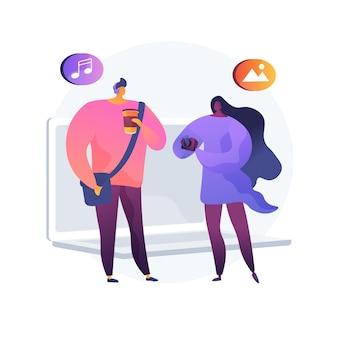 Millennials 추상 개념 벡터 일러스트 레이 션. y 세대, 디지털 네이티브 및 소셜 미디어, 온라인 커뮤니케이션, 부모와 함께 살기, 경력 구축, 경제 추상 은유 공유.