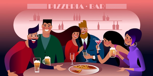 Millennials meeting at a pizzeria. flat  illustration.