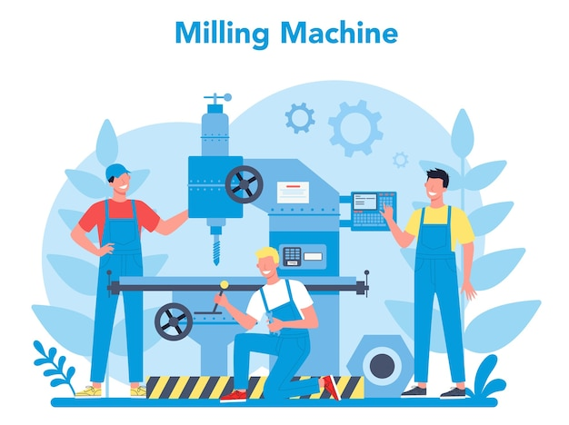 Miller and milling concept illustration.