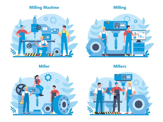 Miller and milling concept  set. engineer drilling metal with milling machine, detail manufacturing. industrial technology.