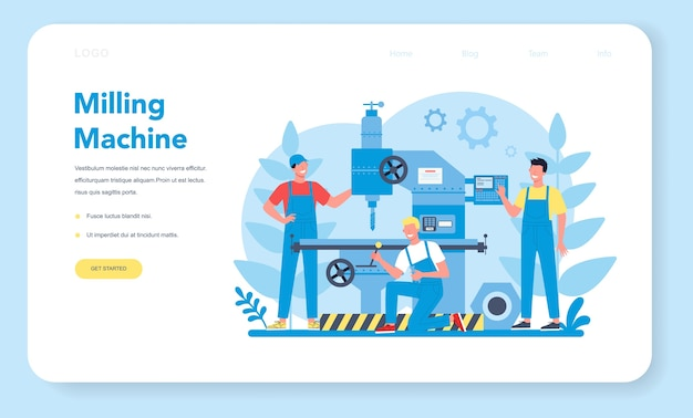 Miller and milling web banner or landing page