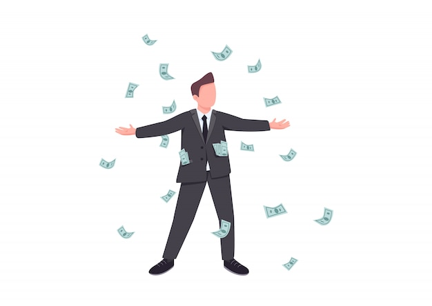 Millionaire flat color faceless character. male winner enjoy cash prize. person win jackpot in casino. gambling entertainment player. man in rain of falling money isolated cartoon illustration