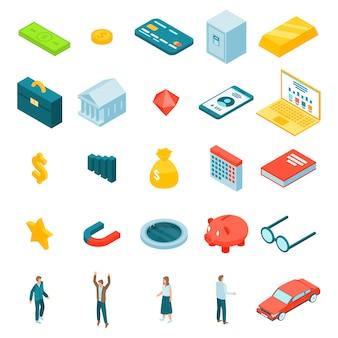 Millionaire icons set, isometric style