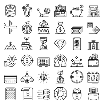 Millionaire icons set, outline style